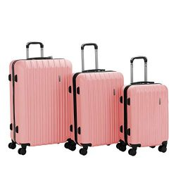 Murtisol 3 Pieces ABS Luggage Sets Hardside Spinner Lightweight Durable Spinner Suitcase 20̸ ...