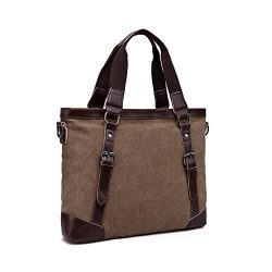 Aulain Leather Canvas Vintage Bussiness Causual Travel Tote Bag Messenger Bag For Men