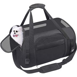 HACHI SHOP Pet Carrier Dog Airline Approved Soft-Sided Portable Travel Bag for Small Dogs Cats P ...