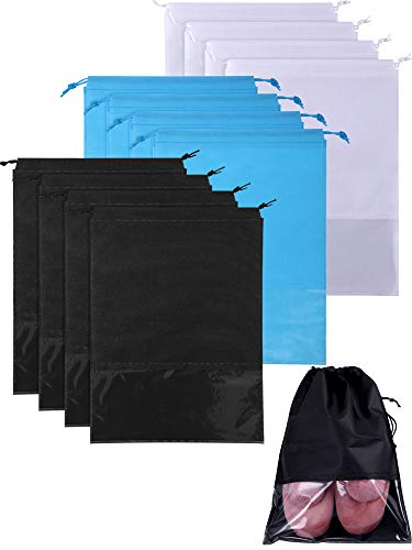 SATINIOR 12 Pieces Travel Shoe Bag Large Shoe Organizer Pouch Non-woven Storage Bag with Transpa ...