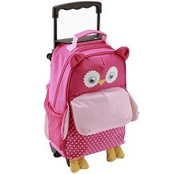 Yodo 3-Way Toddler Backpack with Wheels Little Kids Rolling Luggage, Owl