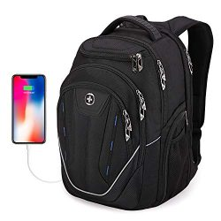 Extra Large Backpack, Swissdigital TSA Friendly Business Laptop Backpack for Men with USB Chargi ...