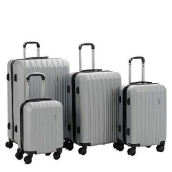 Murtisol 4 Pieces ABS Luggage Sets Hardside Spinner Lightweight Durable Spinner Suitcase 16̸ ...