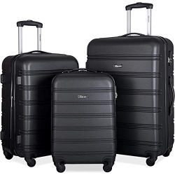 Merax Mellowdy 3 Piece Set Spinner Luggage Expandable Travel Suitcase 20 24 28 inch (Classic Black)