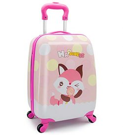 Girls Suitcase Hardshell Spinner Wheels – Kids Luggage 18 inch Carry On Fox Travel Trolley ...