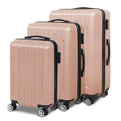 3 Pcs Luggage Set Trolley Spinner Lightweight Durable Suitcase Hardshell W/3 Covers & 2 Coat ...