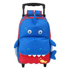 Yodo 3-Way Toddler Backpack with Wheels Little Kids Rolling Luggage, Shark