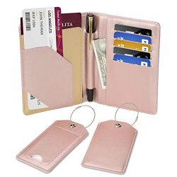 COCASES Passport Holder RFID Protection PU Leather Card Slots Pen Holder with Two Matching Lugga ...
