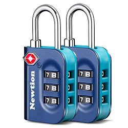 Newtion TSA Lock 2 Pack,TSA Approved Luggage Lock,Travel Lock with Double Color Alloy Body,Combi ...