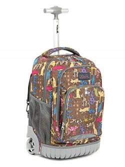 Tilami New Antifouling Design 18 Inch Oversized Load Multi-Compartment Wheeled Rolling Backpack  ...