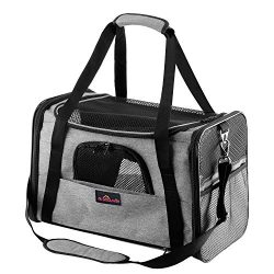 Aivituvin Pet Carrier for Dog and Cat,Soft Sided Collapsible Travel Bags for Small or Medium Ani ...