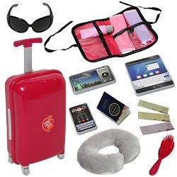 Doll Travel Suitcase with Open and Close Carry on Luggage, Ticket, Passport and 12 Accessories & ...