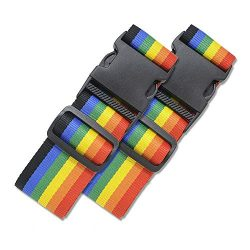 2 Pack Luggage Straps Set Suitcase Belts Neon Rainbow Luggage Tags Set Neon Luggage Strap TSA Ap ...