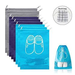 QOQO Travel Shoe Bags Waterproof Non-Woven with Rope, Shoes Storage Organizer Bags for Men and W ...