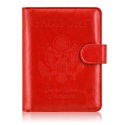 ACdream Passport Holder Wallet, Travel Leather RFID Blocking Cover for Passport, (Red)