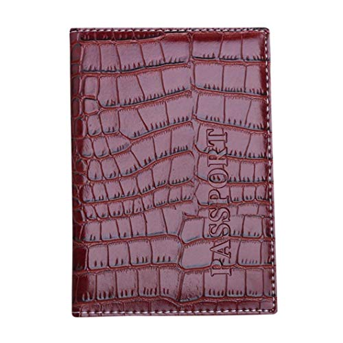 Kimloog Clearance!PU Leather Passport Cover Holder RFID Blocking Men Women Travel Wallets (Brown)