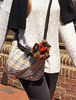Furberry Tan Plaid PET DOG SLING CARRIER – Cozy Warm Famous Designer British **FREE SHIPPING**