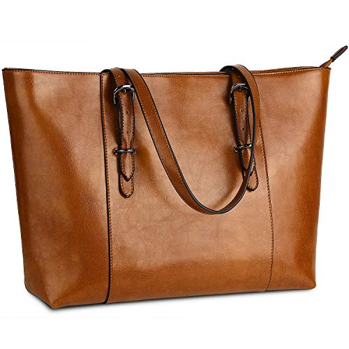 Genuine Leather Womens Laptop Tote Large Bag Fits Up to 15.6 in Vintage Style Soft Leather Work  ...