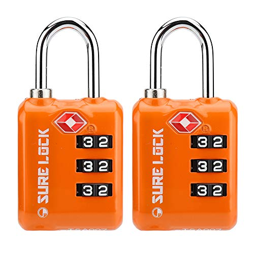 SURE LOCK TSA Approved 3 Digit Luggage Locks With Zinc Alloy Body and Hardened Steel Shackle To  ...