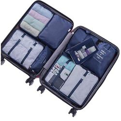 8 Set Packing Cubes-6 Suitcase Organiser Bags+1 Shoes Bag+1 Clear Toiletry Bag (2#Navy)