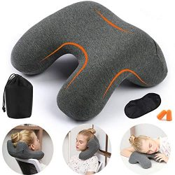 HAOBAIMEI Travel Neck Pillow, Memory Foam Travel Pillow for Airplanes, Car, Camping, Office, Sch ...