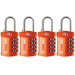 4 Digit TSA Approved Luggage Lock, 4 Pack Orange, Inspection Indicator, Alloy Body