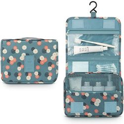 Hanging Toiletry Bag,Mossio Vintage Zippered Jewelry Digital Brushes Beauty Bag Blue Flower