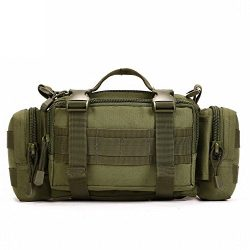 HYOUSANN 4-Way Waist Pack Tactical Fanny Pack Molle Fishing Gear Bag green