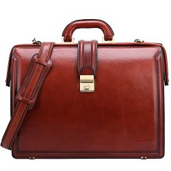 Banuce Full Grain Italian Leather Briefcase for Men 15 Inch Laptop Business Bag Lawyer Attache C ...