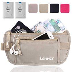 Travel Money Belt for Men Women, RFID Blocking Waist Wallet Hidden Antitheft Passport Holder Con ...