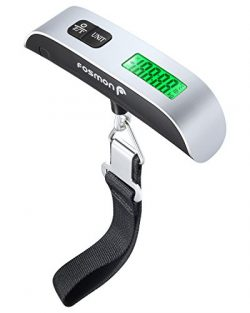 Digital Luggage Scale, Fosmon LCD Display Backlight Temperature Sensor Hanging Scale with Tare F ...