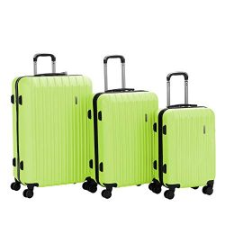 Murtisol 3 Pieces ABS Luggage Sets Hardside Spinner Lightweight Durable Spinner Suitcase 20&#824 ...