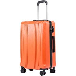 Coolife Luggage Expandable Suitcase PC+ABS with TSA Lock Spinner 20in 24in 28in (orange, S(20in_ ...