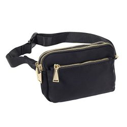 ZORFIN Fanny Pack for Men&Women Nylon Wasit Pack Bag Hip Bum Bag with 3 Zipper Pockets for O ...