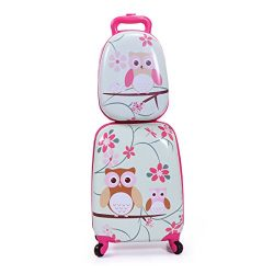 LAZYMOON Kids Carry On Luggage Set 2Pc 12″ 16″ Upright Hard Side Hard Shell Suitcase
