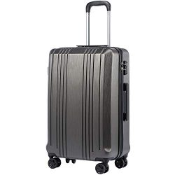 Coolife Luggage Expandable Suitcase PC+ABS with TSA Lock Spinner 20in 24in 28in (grey, S(20in_ca ...