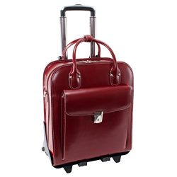 Detachable -Wheeled Women's Laptop Briefcase, Leather, Mid-Size, Red – LA Grange | M ...