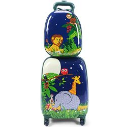 Goplus 2Pc 12″ 16″ Kids Carry On Luggage Set Upright Hard Side Hard Shell Suitcase S ...