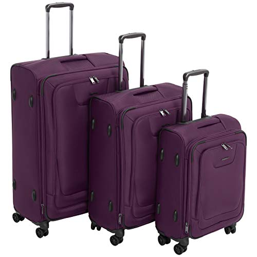 AmazonBasics Premium Expandable Softside Spinner Luggage With TSA Lock 3-Piece Set – 21/25 ...