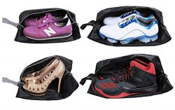 BAYA CORP Travel Shoe Bags Set of 4 Waterproof Nylon with Zipper for Men & Women (Black)