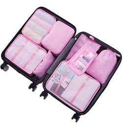 8 Piece Packing Cubes – WantGor 6 Suitcase Organiser Luggage Compression Pouches + 1 Shoes ...