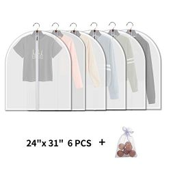 allhom Small Size Garment Bags – Set of 6 Translucent 31 inch Hanging Clothing Bags with C ...