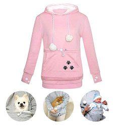 Womens Unisex Big Kangaroo Pouch Hoodie Cat Ear Long Sleeve Pet Dog Holder Carrier Sweatshirt, P ...