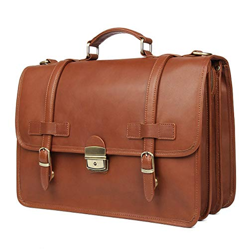Augus Genuine Leather Briefcase Messenger for Men Business Travel Duffle Laptop Flapover Bag Fit ...
