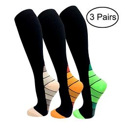 Copper Compression Socks For Men & Women(3 Pairs)- Best For Running,Athletic,Medical,Pregnan ...