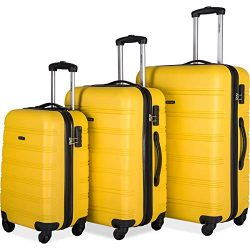 Merax 3 Pcs Luggage Set Expandable Hardside Lightweight Spinner Suitcase (Yellow)