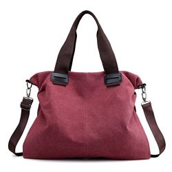 Women's Canvas Tote Purse Handbags Shoulder Bags Travel Weekend Crossbody Bag (Red)