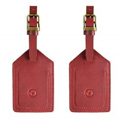 Leather Luggage Tags Travel ID Bag Baggage Suitcase Labels By Aaron Leather (Red)