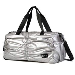 Gyms Bag with Shoes Compartment Mens/Womens Waterproof Sport&Travel Duffel Black and Rose Go ...