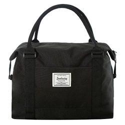 Unisex Large Travel Weekender Bag Overnight Duffle Bag Gym Tote Bag in Trolley Handle (Large Black)